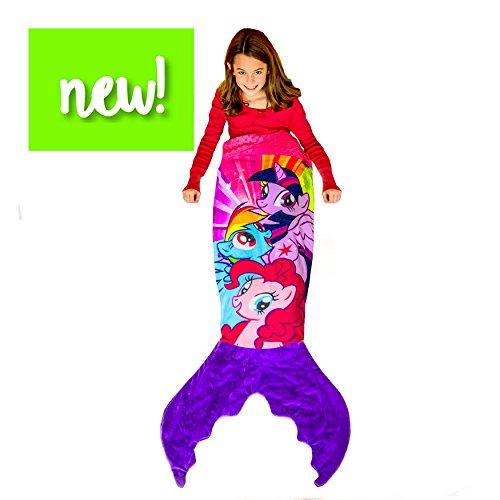 Blankie Tails | My Little Pony Mermaid Blanket Wearable Blanket - Double Sided My Little Pony Minky Fleece Blanket - Mermaid Tail Blanket (56'' H x 27'' (Kids Ages 5 - 12), Purple & Pink)