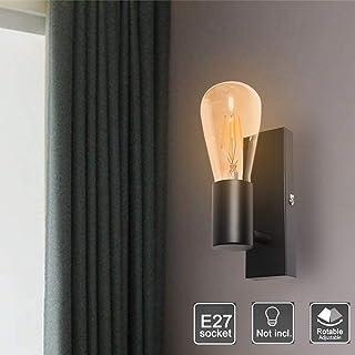 Kambo Aplique de Pared Negro Lámpara de Pared Interior Cuadrado Requieren Bombilla E27 Max. 60W 230V Aluminio Decoración Para Salon Pasillo Escalera Dormitorio Industrial Retro Nórdico Moderno