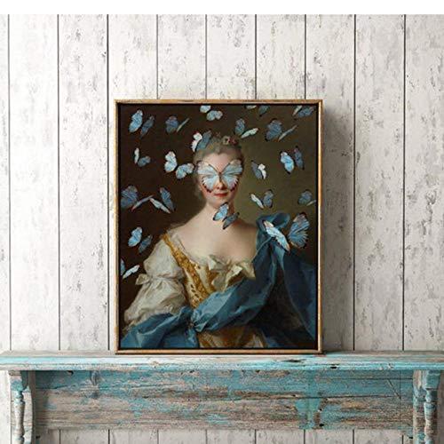 LLXHG gewijzigde vintage portret Eklectische druk maximale kunst canvas schilderij Vrouwelijke muur Surreal Rococo Barok Poster Home wanddecoratie 42X60cm niet-ingelijst