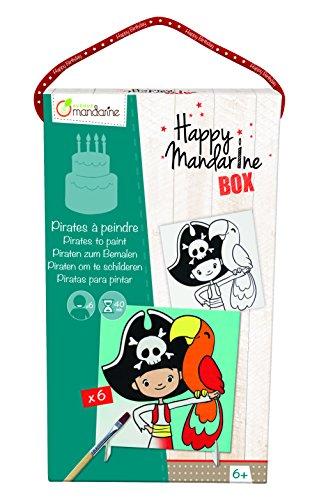 Avenue Mandarine KC006O - Une boite créative Happy madarine box comprenant 6 cartes à peindre Pirates pour 6 enfants
