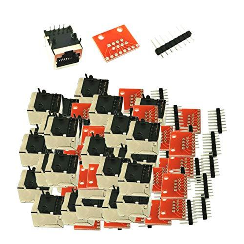 SDENSHI 30Pcs PCB RJ45 Connector Breakout Componentes Electrónicos DIY Accs