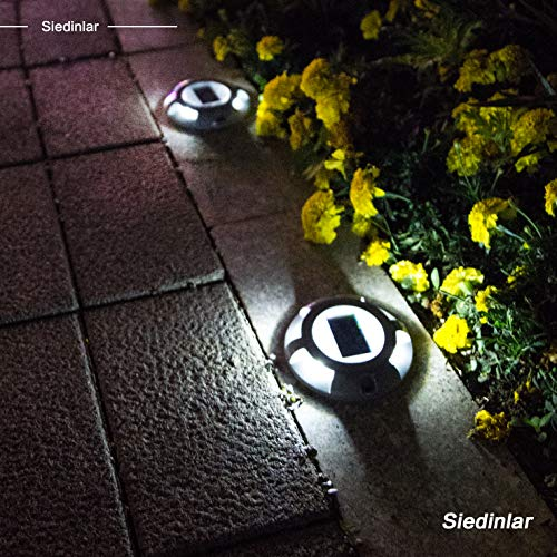 Siedinlar Solar Deck Lights Driveway Dock LED Light Solar Powered Outdoor Waterproof Road Markers for Step Sidewalk Stair Garden Ground Pathway Yard 4 Pack (White)