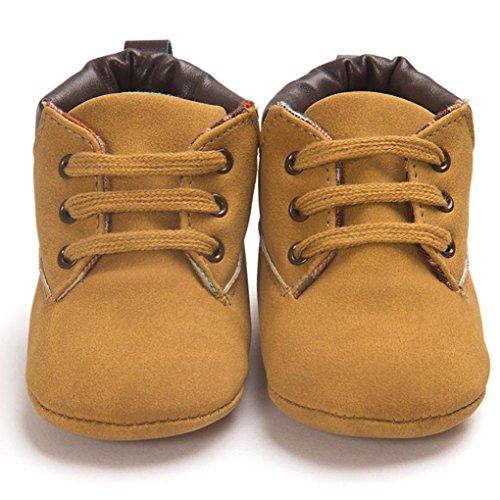 Primeros Pasos para Bebé niño, Recién Nacido bebé niño niña Zapatos Lindos Zapatos de Lona Antideslizante Suave 0-18 Mes (Tamaño:12-18Mes, Caqui)