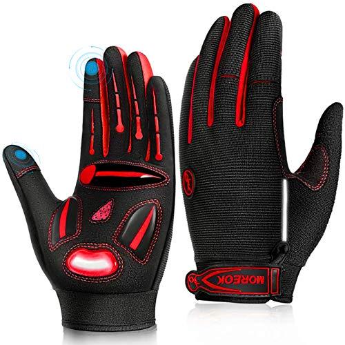 LUROON Herren Damen Touchscreen Fahrradhandschuhe Anti-Rutsch Sport Handschuhe Gel Gepolstert Stoßdämpfende Handschuhe zum Fitness Camping Laufen Wandern Radfahren Joggen Skifahren (Rot, L)