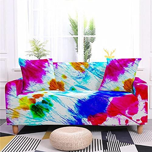 Fundas de Sofá Estampado Graffiti de Color 2 Plazas Elasticas Protector de sofá Funda Sofá Antideslizante Funda Elástico Universal Ajustables Protector Cubierta de Muebles