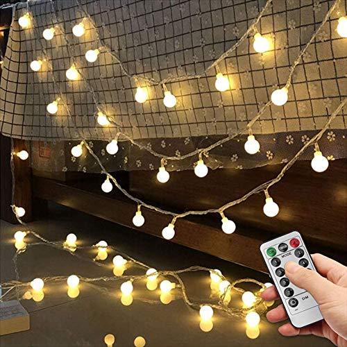 10M LED Lichterkette Außen Batterie und USB 2 in 1, 100er kleine LED Lichterkette kugel warmweiß, Lichterketten mit Fernbedienung als Deko für Innenzimmer Party Garten Balkon Weihnachten und Party