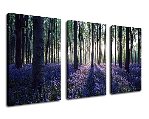 """Canvas Wall Art Purple Lavender Forest Morning Sunshine Painting - 30"""" x 20"""" x 3 Pieces Canvas Art Nature Picture Large Landscape Modern Artwork Big Trees for Home Decoration Framed Ready to Hang"""