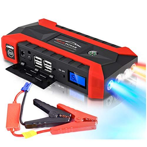 Surfiiy Starthilfegerät für Auto und Motorrad mit Adapter 20000 mAh / 12 V 1000 A LCD 4 USB Tragbar Car Jump Starter Booster Auto Power Bank LED Taschenlampe LED Ausgang USB Quick Charge für