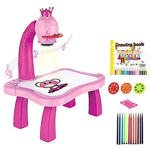 Tablero de dibujo de plástico magnético para niños, proyector, herramienta educativa de pintura, juego de escritorio de mesa de proyector de pintura musical para niños (Pink)