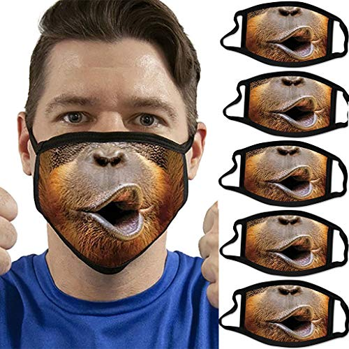 Daringjourney UK 5PCs Adults Washable Reuse Face_Masks Breathable Funny 3D Animal Printed Fashion Bandanas Outdoor Dustproof Face Mouth Cover Protection Healthy Breathing