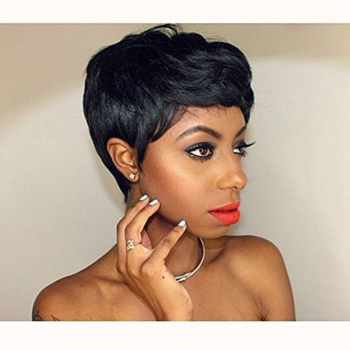BeiSD Short Black Pixie Cut Hair Natural Synthetic Wigs For Black Women Heat Resistant Black Wig Womens Fashion Wig