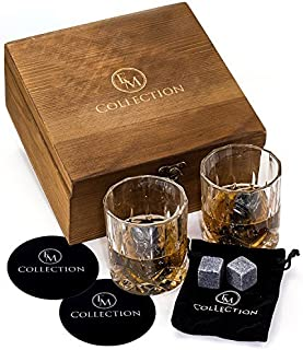 Whiskey Stones Gift Set w/ 8 Granite Whiskey Rocks,2 Crystal Whiskey Glasses & Velvet Bag by EMcollection|Reusable Cooling Ice Cubes|Chill Your Scotch & Cold Drinks|Packed in Elegant Wooden Box