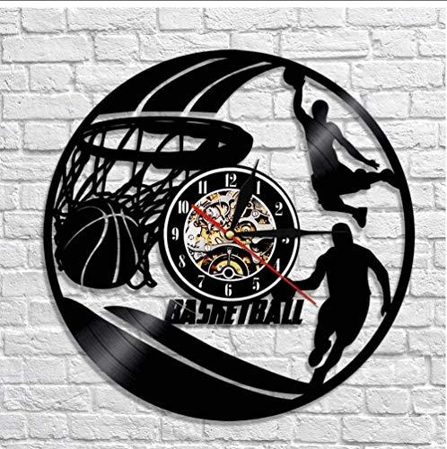 TIANZly Reloj de Pared de Baloncesto Jugador de Baloncesto Silueta Arte Pared Vinilo Disco Reloj de Pared Baloncesto decoración del hogar Trompeta 12 Pulgadas