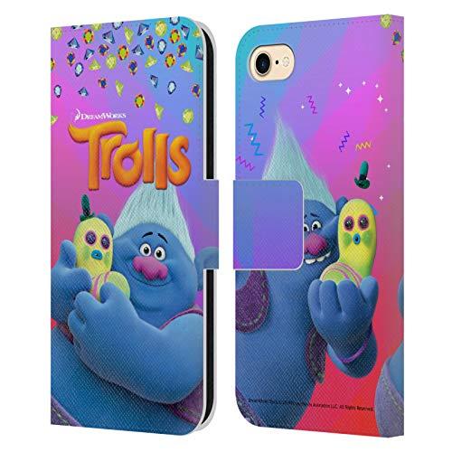 Head Case Designs Oficial Trolls Biggie & Mr. Dinkles Pack Snack Carcasa de Cuero Tipo Libro Compatible con Apple iPhone 7 / iPhone 8 / iPhone SE 2020