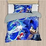Eqiaoqukeq Kids Bedding,SonicBedspread for Boys Girls Bedroom W53xL78.7/W20xL30