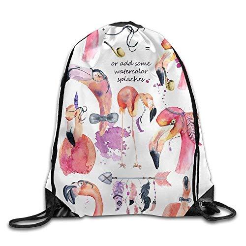 huatongxin Creat Your Own Flamingo Print Drawstring Backpack Rucksack Umhängetaschen Sport Gym Bag for Men and Women