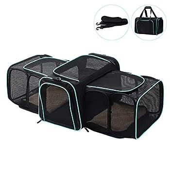 Display4top Sac de Transport Extensible pour Chat et Chien,Pliable Cage de Transport Animal,Noir