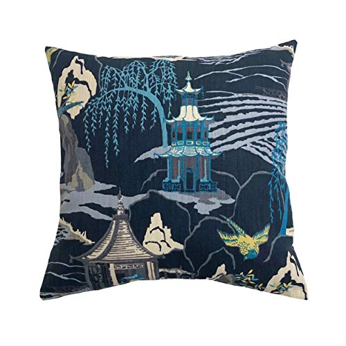 None Brand Robert Allen Neo Toile Indigo Throw Pillow Cover Teal Light Blue Grey Ivory Citrine and Navy Blue Pillow case
