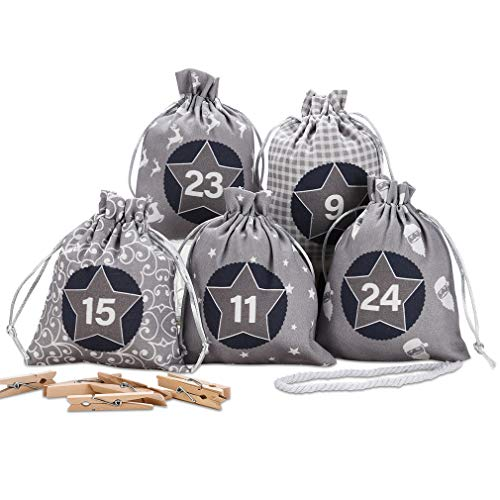 KOHMUI Adventskalender zum Befüllen, Weihnachtskalender Selbstbefüllen Aufhängen, 24 Grau Stoffsäckchen Selbst Befüllen Bastelset, Weihnachten Geschenksäckchen, Hochwertige Geschenktüte aus Baumwolle