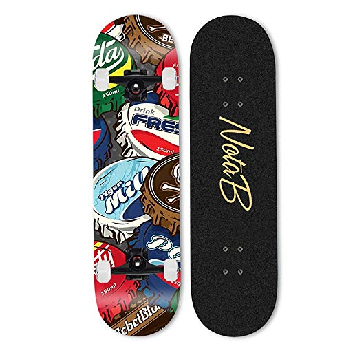 NAINAIWANG Completo Skateboard para Principiantes Patinetas para niñas Adolescentes 31'x 8' Pro Complete Standard Double Kick 7 Capas Canadian Maple Deck Cruiser Patinetas para jóvenes niños