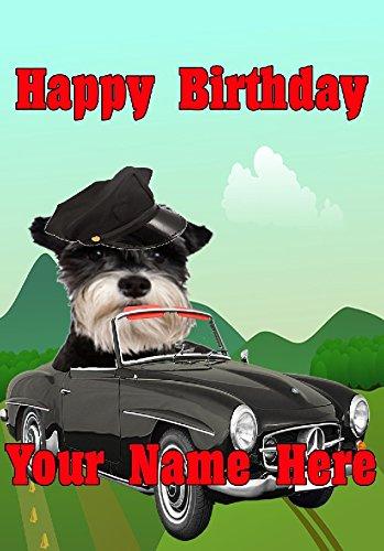 Derbyshire - Tarjeta de felicitación de cumpleaños tamaño A5, diseño de perro Schnauzer en miniatura