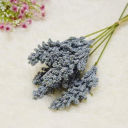 Künstliche Blumen 6Pcs / Packung künstliche Vanille Mini Foam Berry Spike künstliche Blumen Blumenstrauß for Heim Pflanze Wanddekoration Getreide Pflanze Haufen (Color : Blue)