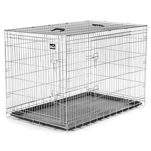 zoomundo Altezza XXL Gabbia Metallo Pieghevole per Cani Viaggio Cucciolo Gabbia Animali Trasportino Richiudibile 2 Porte Argento