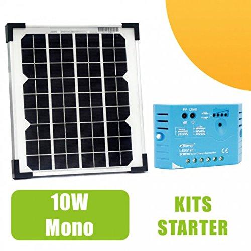 Kit panneau solaire monocristalin 10W 12V et régulateur 5A