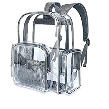 Clear Backpack Cambond Heavy Duty Transparent Backpacks for Adults with Reinforced Straps See-Through Bag for School Work  Large Grey