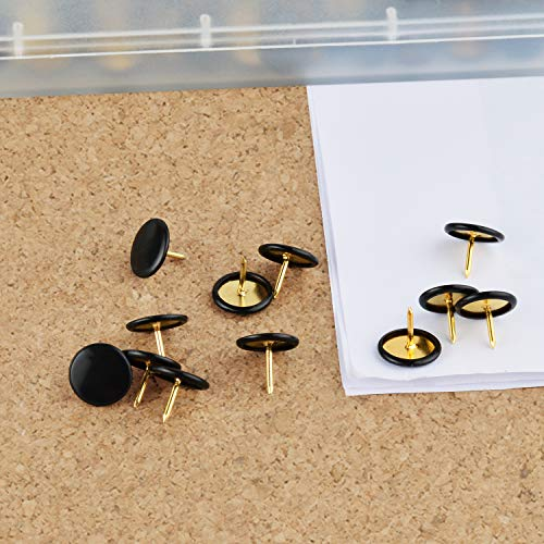 HongyiTime 400 PCS Push Pins,Thumb Tacks, Wall Tacks, Tacks, Push Pin,Thumbtack, Flat Push Pins, Thumbtacks Flat, Push Pins for Cork Board, Push Pins for Wall, Board Pins,Tacks and Push Pins(Black) Photo #4