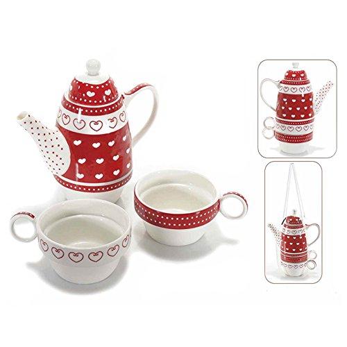 Teiera e due tazze impilabili in ceramica con decoro cuori e pois. 00064 TEIERE TISANIERA TISANIERE TAZZINA TAZZINE