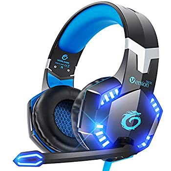 VersionTECH G2000 Gaming Headset for PS5 PS4 PC Xbox One Surround Sound Over Ear Headphones with Mic LED Light for Mac Laptop Switch Playstation Xbox Series X/S -Blue