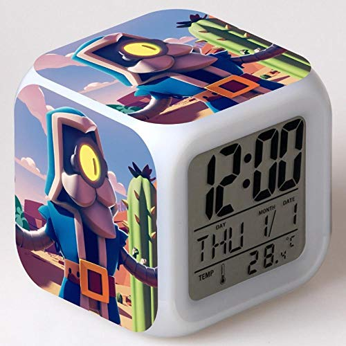 Reloj despertador para niños Reloj despertador digital de cabecera Reloj despertador con puerto de carga USB LED Luz de noche colorida Reloj despertador pequeño iluminado Silencio P213