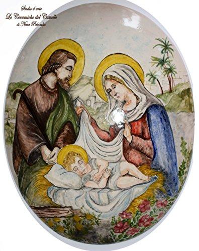Sacra Famigia Nativita Maternità Quadro Ovale a parete Ceramica Realizzata e dipinta a mano Le Ceramiche del Castello Pezzo Unico Oggetto d'arte Made in Italy Dimensioni 50 x 38 centimetri
