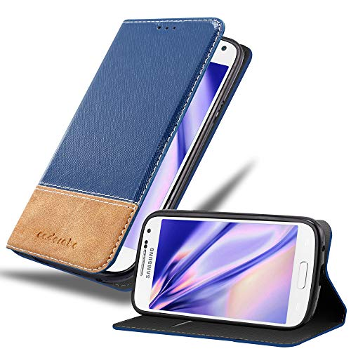 Cadorabo Custodia Libro per Samsung Galaxy S4 Mini in Blu Scuro Marrone - con Vani di Carte, Funzione Stand e Chiusura Magnetica - Portafoglio Cover Case Wallet Book Etui Protezione