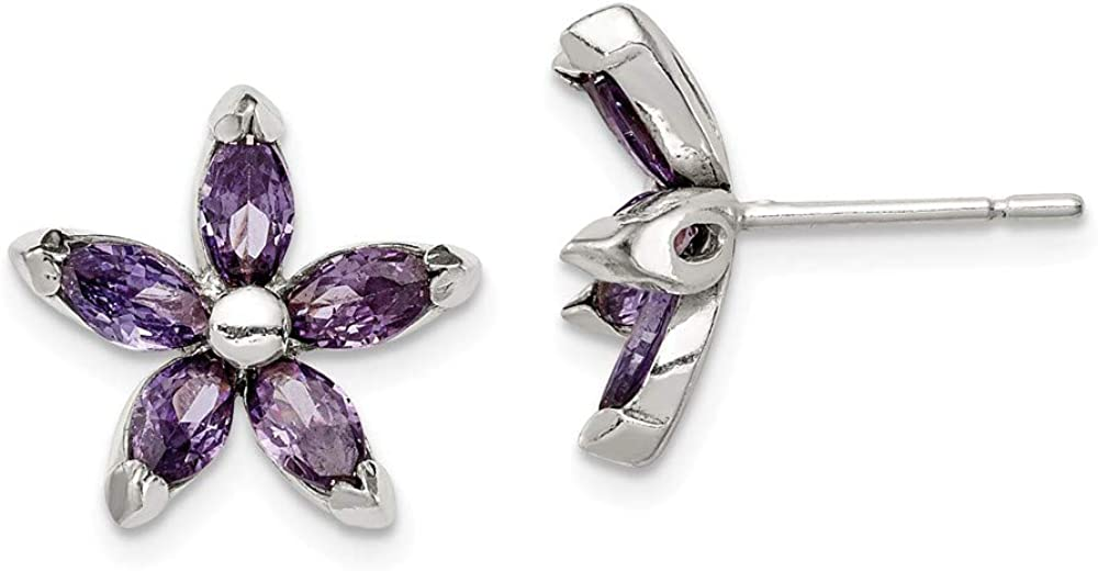FB Jewels Solid Sterling Silver CZ Ea Flower Zirconia Cubic Safety and NEW before selling trust Post