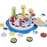 B&Julian Holzspielzeug Rollenspielzeug Holz Geburtstagstorte Schneideset 32 teilig mit Kerzen Deko als Spielküche Kaufladen Zubehör Set für Kinder ab 1 Jahr