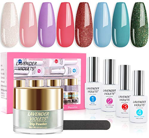 Lavender Violets Quick Dry Dip-Powder-Nail-Kit of 8 Colors Fast-Dry Blue Green Pink Acrylic-Dipping Powder with Nail File J741