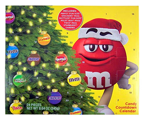 2019 Mars Christmas Advent Calendar with Assorted Candy M&Ms, Snickers, Skittles, MilkyWays, chocolate Caramel Candy Bar and Starburst, 8.64 oz