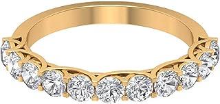 1.22 Ct SGL Certified Diamond Engagement Ring, Statement Women Gold Band Ring, Classic Diamond Eternity Bridal Ring, Uniqu...