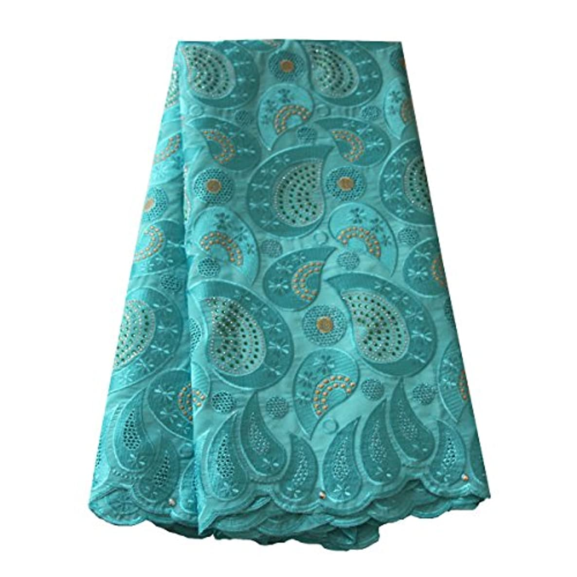 pqdaysun African Swiss Voile Fabric Lace Fabric Nigerian French Lace Net Fabric Embroidered Fabric for Wedding Party F50720 (Aqua)