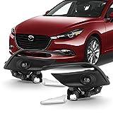 Fits 2017 2018 Mazda 3 LED Clear Bumper Fog Light Lamp Front Pair LH+RH w/Switch + Bezel Trim 17 18