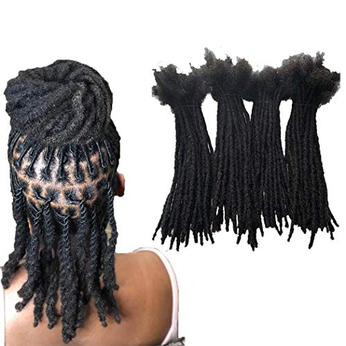 YOTCHOI 100% Human Hair Permanent Dreadlocks Extension Handmade Locs Small Size(diameter 0.4cm) 20 Strands/pack 8inch Jet Black #1