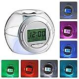 Reloj despertador LED para niños, despertador Relojes digitales para adultos Colores de cabecera Luz cambiante para niños, niñas Decoración de la habitación con sonido natural y función de repetición