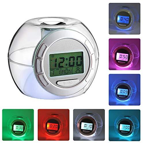 7 Color Change LED Digital Alarm Clock Snooze Home Decor For Boys Girls Gifts HH