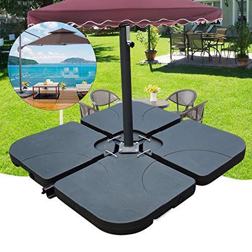 DIFU Sonnenschirmständer Schirmständer Sonnenschirm Ständer Befüllbar mit Wasser bis zu 75 kg   4 Platten Beschwerungsplatte Ampelschirm   Element je 50 x 50 x 7.5 cm
