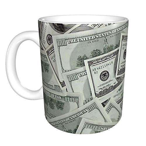 Ceramic Coffee Mug USA Money Dollars Funny Tea Cup with handle for Office Home Men Women 11 Oz