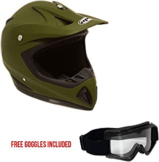 MMG Motorcycle Helmet Off Road MX ATV Dirt Bike Motocross UTV - Military Green (XX-Large). Includes Goggles