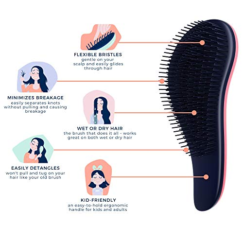 Crave Naturals Glide Thru Detangling Brush for Adults & Kids Hair - Detangler Hair Brush for Natural, Curly, Straight, Wet or Dry Hair (PINK)…