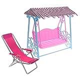 sharprepublic Tumbona de Playa a Escala 1/6 Y Columpio para Decoración de Jardín de Casa de Muñecas, Muñecas de 12 Pulgadas